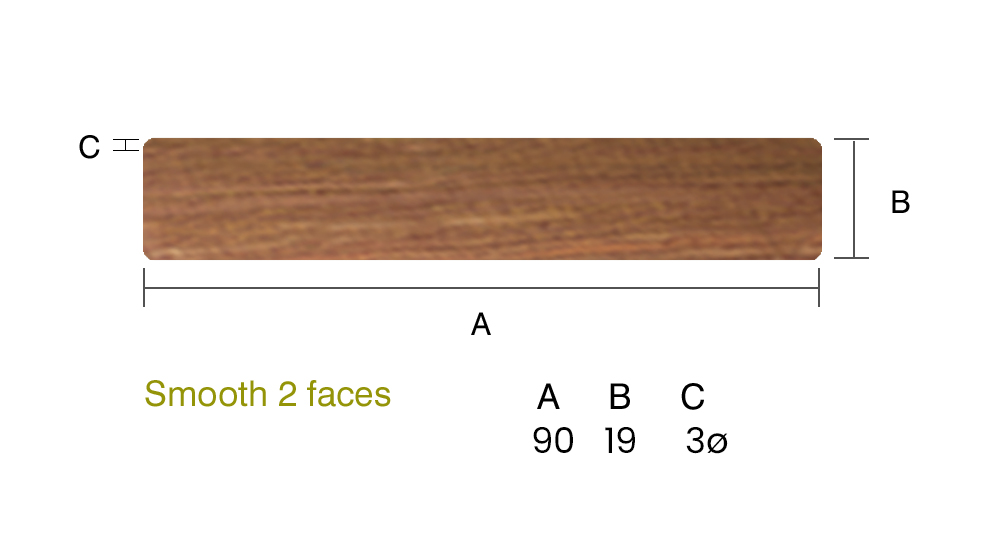 IPE 19 x 90mm Smooth 2 faces - 1st Grade